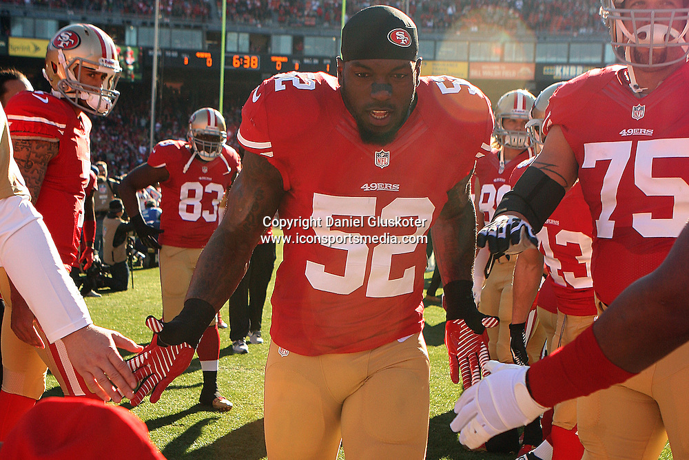 08 December 2013: Niners linebacker Patrick Willis during action in an NFL game against the Seattle Seahawks at Candlestick Park in San Francisco, CA. The 49ers won 19-17.