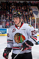 KELOWNA, BC - OCTOBER 20:  Joachim Blichfeld #20 of the Portland Winterhawks stands on the ice at the Kelowna Rockets at Prospera Place on October 20, 2017 in Kelowna, Canada. (Photo by Marissa Baecker/Getty Images)