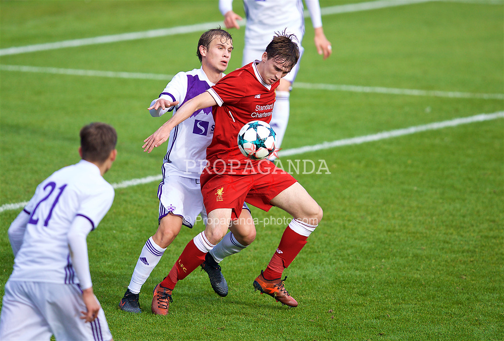 BIRKENHEAD, ENGLAND - Wednesday, November 1, 2017: Liverpool's Liam Millar and NK Maribor's Blaž Žgajner during the UEFA Youth League Group E match between Liverpool and NK Maribor at Prenton Park. (Pic by David Rawcliffe/Propaganda)