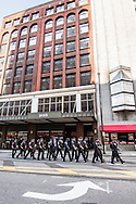 Jul 20, 2016; Cleveland, OH, USA; Police assemble in downtown Cleveland at the site of the Republican National Convention.