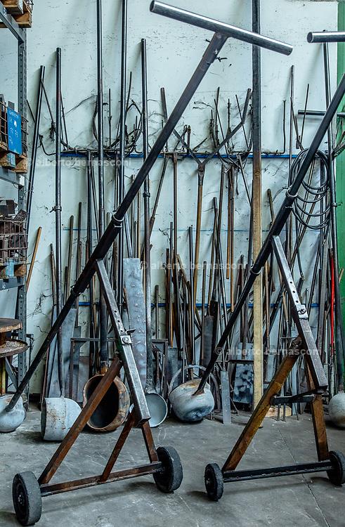Italy, Resana, Veneto: glass blowers at Nuova Vetreria Resanese, producing for Pulpo designers, working tools