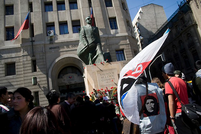 Supporters of former chilean socialist president Salvador Allende meets near his monumet closer to La Moneda presidential palace in Santiago, Thursday, Sept. 11, 2008. Chileans remember the 35th anniversary of the military coup haed by former dictator Augusto Pinochet where Allende dies.