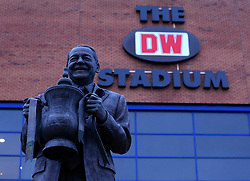 A statue of Wigan Athletic owner Dave Whelan holding the FA Cup trophy in commemoration of the clubs FA Cup win in 2013 - Mandatory by-line: Robbie Stephenson/JMP - 19/02/2018 - FOOTBALL - DW Stadium - Wigan, England - Wigan Athletic v Manchester City - Emirates FA Cup fifth round proper