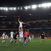 Line out action during the New Zealand V France Final at the IRB Rugby World Cup tournament, Eden Park, Auckland, New Zealand. 23rd October 2011. Photo Tim Clayton...