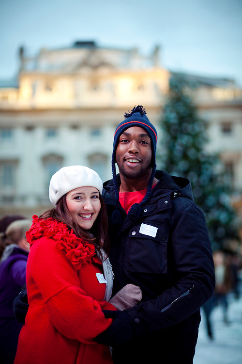 Sophie and Doyin Ogunbiyi, Kings College Alumni, at the Somerset House Ice Rink. Sophie and Doyin met at King's in Freshers week when Sophie was studying European Studies with French (2006) and Doyin was studying Geography (2005), 7 years later they married in the Chapel on the strand campus. 21.11.2010
