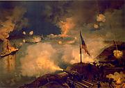 American Civil War 1861-1865: Bombardment of Port Hudson 14 March 1863. Fleet of seven Union vessels attempted to run past Port Hudson to blockade Red River.  Confederate gun battery bombarding Union fleet. Print c1887