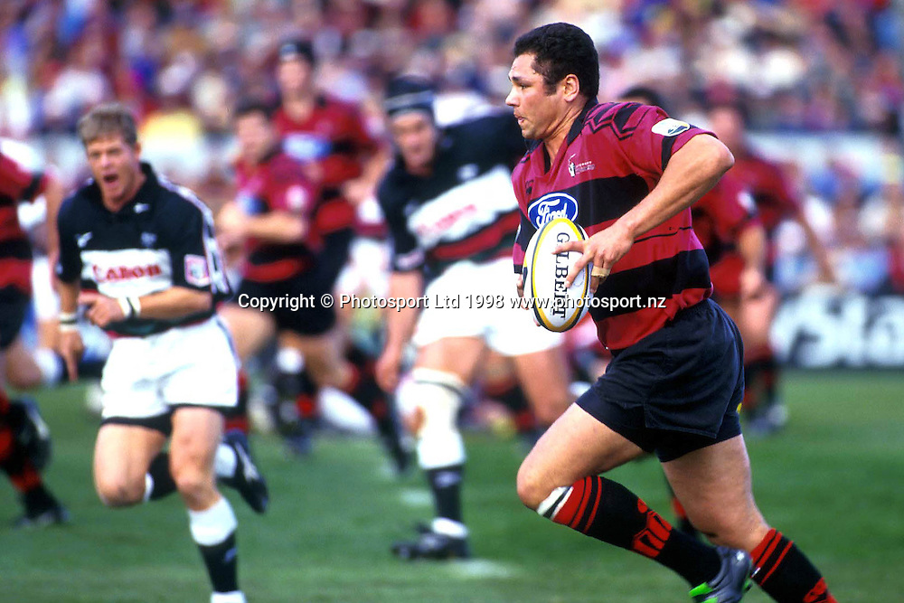 Tabai Matson in action, Canterbury Crusaders, Super 12 Rugby Union. 1998. Photo: PHOTOSPORT