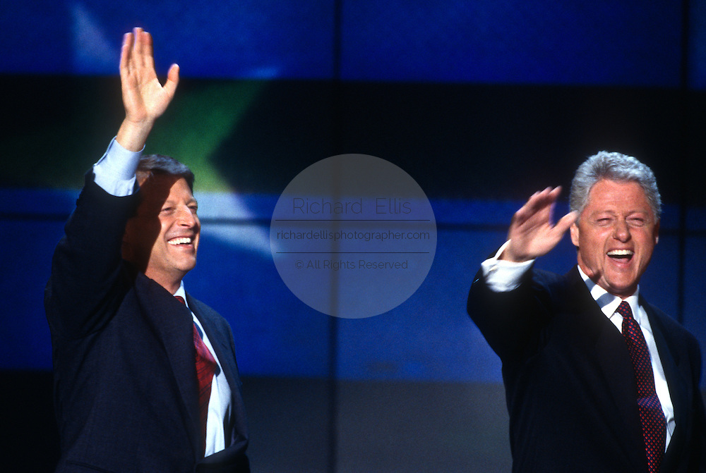 President Bill Clinton with Vice President Al Gore after his acceptance speech the Democratic National Convention August 29, 1996 in Chicago, IL.