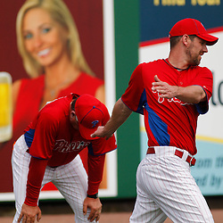 March 1, 2011; Clearwater, FL, USA; Philadelphia Phillies starting pitcher Cliff Lee (33) stretches before a spring training exhibition game against the Detroit Tigers at Bright House Networks Field  Mandatory Credit: Derick E. Hingle