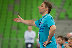 Tone Tiselj, coach of Team Slovenia during handball match between Women National Teams of Slovenia and Czech Republic of 4th Round of EURO 2012 Qualifications, on March 25, 2012, in Arena Stozice, Ljubljana, Slovenia. (Photo by Urban Urbanc / Sportida.com)