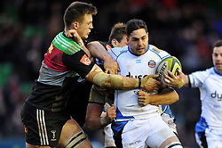 Horacio Agulla of Bath Rugby takes on the Harlequins defence - Photo mandatory by-line: Patrick Khachfe/JMP - Mobile: 07966 386802 31/01/2015 - SPORT - RUGBY UNION - London - The Twickenham Stoop - Harlequins v Bath Rugby - LV= Cup