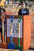 Andrew Farias comments during a groundbreaking ceremony for the new Energy Institute High School, November 19, 2016.