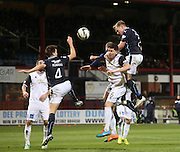 Dundee's Gary Irvine rises above Inverness' Josh Meekins to head for goal  - Dundee v Inverness Caledonian Thistle, SPFL Premiership at Dens Park <br /> <br />  - &copy; David Young - www.davidyoungphoto.co.uk - email: davidyoungphoto@gmail.com