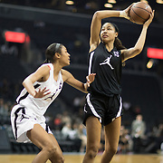NEW YORK, NEW YORK - April 08:  Shakira Austin #22 Riverdale Baptist School, Upper Marlboro, MD defended by Olivia Nelson-Ododa #44 Winder-Barrow H.S. Winder, GA during the Jordan Brand Classic, National Girls Teams All-Star basketball game. The Jordan Brand Classic showcases the best male and female high school basketball players who compete in the exhibition games at the The Barclays Center, Brooklyn, New York on April 08, 2018 in New York City. (Photo by Tim Clayton/Corbis via Getty Images)