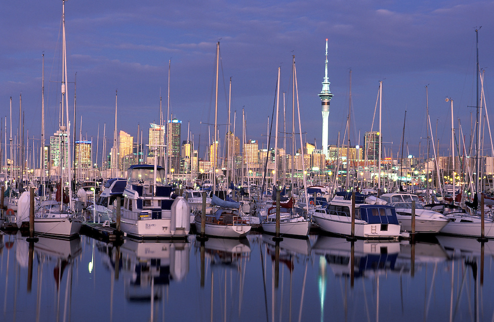 Westhaven Marina, Auckland Skyline, North Island, New Zealand