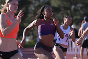 Juanita Webster runs in the heptathlon 200m during the Bryan Clay Invitational in Azusa, Calif., Wednesday, April 17, 2019.