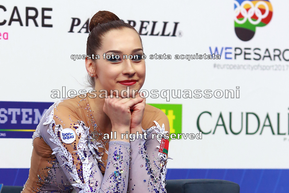 Katsiaryna Halkina on Kiss and Cry at World Cup of Pesaro 2018. Katsiaryna come from Belarus, she was born in Minks in 1997.