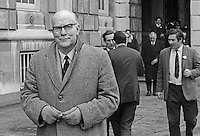 Albert Anderson, MP, Londonderry among Ulster Unionist MPs leaving Parliament Buildings, Stormont, Belfast, N Ireland, 28th February 1969 after first meeting of the parliamentary party following the General Election of 24th February 1969, a few days earlier. At the meeting ten or twelve MPs who opposed his leadership walked out led by John D Taylor. In the foreground is the Londonderry MP, Albert Anderson. 196902280082e<br /> <br /> Copyright Image from<br /> Victor Patterson<br /> 54 Dorchester Park<br /> Belfast, N Ireland, UK, <br /> BT9 6RJ<br /> <br /> t1: +44 28 90661296<br /> t2: +44 28 90022446<br /> m: +44 7802 353836<br /> e1: victorpatterson@me.com<br /> e2: victorpatterson@gmail.com<br /> <br /> www.victorpatterson.com