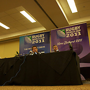 New Zealand captain Richie McCaw and assistant coach Wayne Smith during a press conference in Auckland at the IRB Rugby World Cup tournament, Auckland, New Zealand, 22nd October 2011. Photo Tim Clayton...