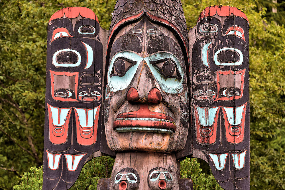 Fog Woman Totem Pole Detail in Ketchikan, Alaska <br />