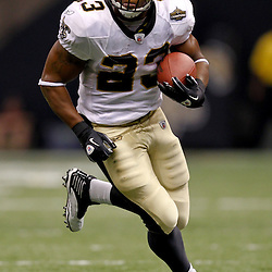 September 9, 2010; New Orleans, LA, USA;  New Orleans Saints running back Pierre Thomas (23)  runs with the ball during the NFL Kickoff season opener at the Louisiana Superdome. The New Orleans Saints defeated the Minnesota Vikings 14-9.  Mandatory Credit: Derick E. Hingle