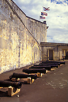 Cannons aligned at the fort's courtyard.