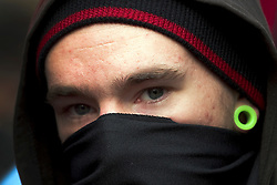 "© under license to London News Pictures. 25/03/2011: Masked protesters on the streets of London during a day of protests across the city. The Home Secretary, Theresa May, is looking at giving police extra powers to force protesters to remove face coverings. Credit should read ""Joel Goodman/London News Pictures""."
