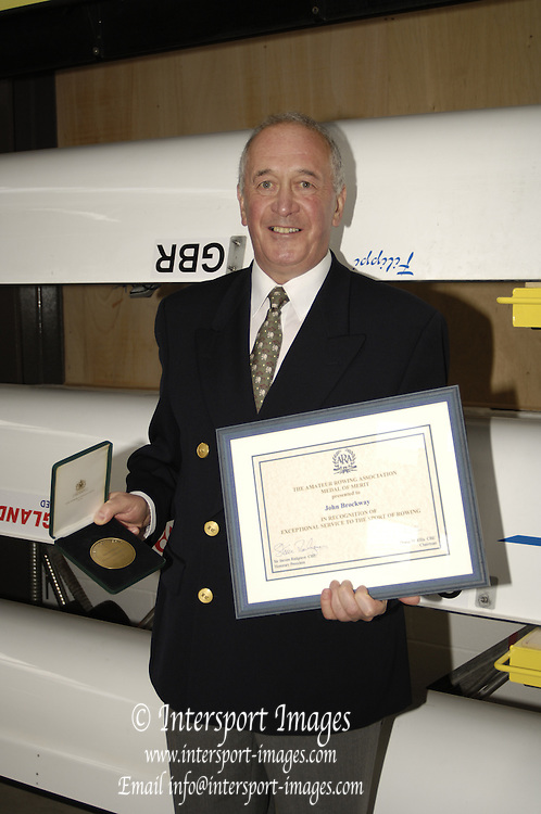 Caversham, Reading, Berks, ENGLAND, ..Official opening Redgrave Pinsent Rowing Lake and Sheriff Boathouse,  John Brockway with ARA Medal, 29.04.2006 © Peter Spurrier / Intersport images...'New 13 millon pounds British International Rowing Trianing facility at Caversham Lake' .