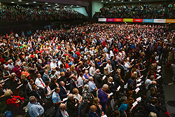 © Licensed to London News Pictures. 24/09/2019. Brighton, UK. Delegates fill the Brighton Centre to listen to the Leader of the Labour Party JEREMY CORBYN speak at the 2019 Labour Party Conference in Brighton and Hove. Photo credit: Hugo Michiels/LNP