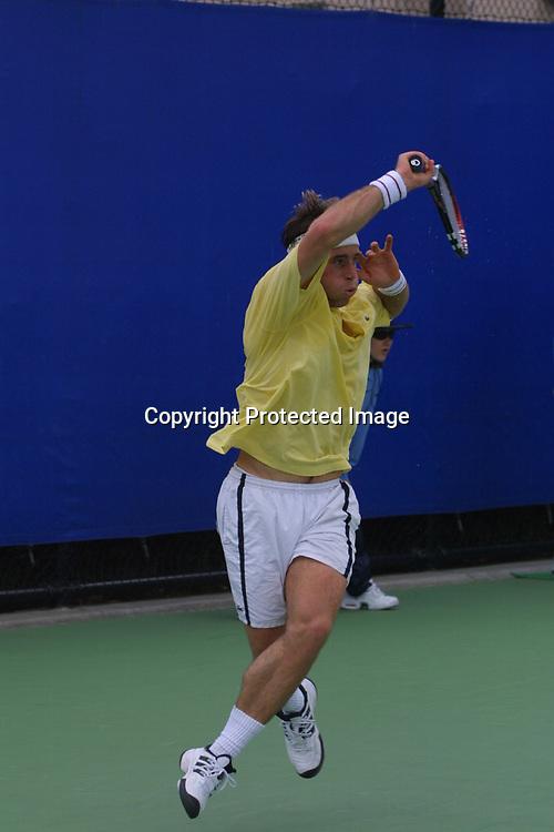 Sport,Tennis,Australian Open in Melbourne, George Bastl (SUI) in Aktion,action,schlaegt Vorhand Return,<br /> Schlaeger,Racket ueber Kopf,,Hochformat,ganze Figur,<br /> 15.01.2001,