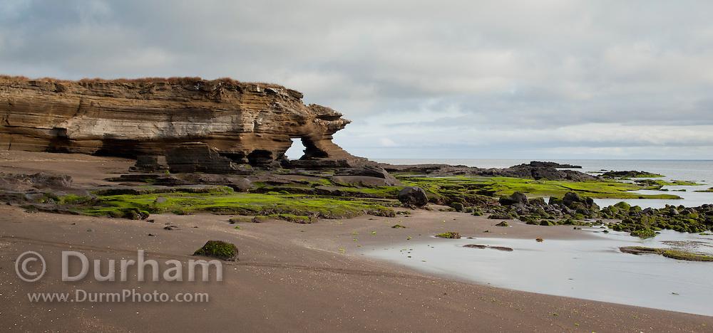 Wind and water erosion along the shore of James Bay on Santiago Island, Galapagos Archipelago - Ecuador.