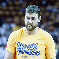 10 June 2016: Golden State Warriors center Andrew Bogut (12) warms up prior to Game Four of the 2016 NBA Finals at the Quicken Loans Arena, Cleveland, Ohio, USA.