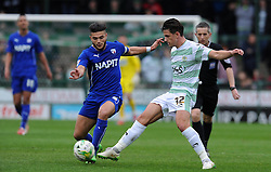 Yeovil Town's Liam Sheppard is tackled by Chesterfield's Sam Morsy  - Photo mandatory by-line: Harry Trump/JMP - Mobile: 07966 386802 - 03/04/15 - SPORT - FOOTBALL - Sky Bet League One - Yeovil Town v Chesterfield - Huish Park, Yeovil, England.