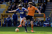 Wolverhampton Wanderers midfielder James Henry tackles Ipswich Town midfielder Jonathan Douglas during the Sky Bet Championship match between Wolverhampton Wanderers and Ipswich Town at Molineux, Wolverhampton, England on 2 April 2016. Photo by Alan Franklin.