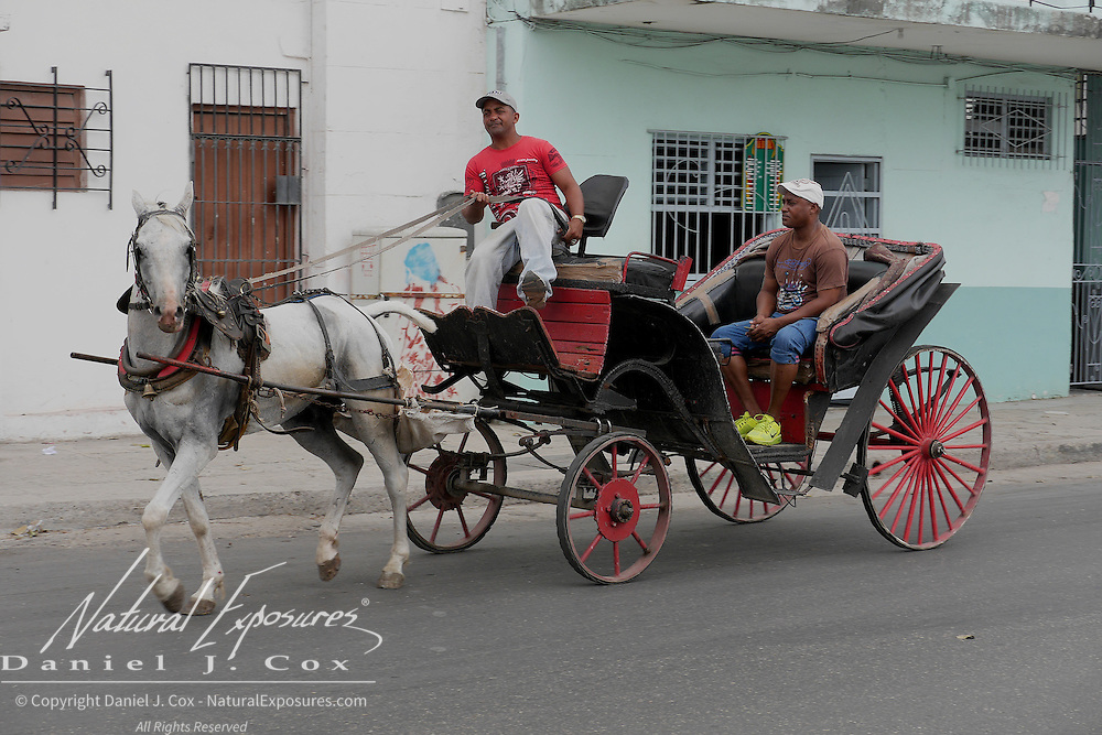 Horse and carriage on the streets of Havana, Cuba.