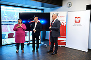 Warsaw, Poland - 2018 June 25: (L-R) Joanna Styczen - Lasocka and Dariusz Wosz and Andrzej Mysliwiec attend in meeting with Witold Banka - Ministry of Sport  at PGE Narodowy Stadium on June 25, 2018 in Warsaw, Poland.<br /> <br /> Adam Nurkiewicz declares that he has no rights to the image of people at the photographs of his authorship.<br /> <br /> Picture also available in RAW (NEF) or TIFF format on special request.<br /> <br /> Any editorial, commercial or promotional use requires written permission from the author of image.<br /> <br /> Image can be used in the press when the method of use and the signature does not hurt people on the picture.<br /> <br /> Mandatory credit:<br /> Photo by © Adam Nurkiewicz / Mediasport/Users/adamnurkiewicz/Downloads