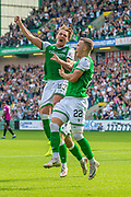 Scott Allan (#23) of Hibernian FC celebrates with Florian Kamberi (#22) of Hibernian FC after scoring a goal for Hibs during the Ladbrokes Scottish Premiership match between Hibernian and St Mirren at Easter Road Stadium, Edinburgh, Scotland on 3 August 2019.