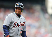 ATLANTA, GA - OCTOBER 2:  First baseman Miguel Cabrera #24 of the Detroit Tigers reacts to a called strike during the game against the Atlanta Braves at Turner Field on Sunday, October 2, 2016 in Atlanta, Georgia. (Photo by Mike Zarrilli/MLB Photos via Getty Images) *** Local Caption ***