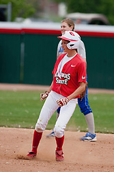 15 April 2012:  Lauren Kellar during an NCAA women's softball game between the Drake Bulldogs and the Illinois State Redbirds on Marian Kneer Field in Normal IL