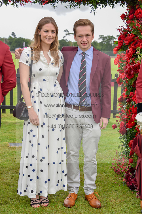Rosie Tapner and her brother Arthur Tapner at the Cartier Queen's Cup Polo 2019 held at Guards Polo Club, Windsor, Berkshire. UK 16 June 2019 - <br /> <br /> Photo by Dominic O'Neill/Desmond O'Neill Features Ltd.  +44(0)7092 235465  www.donfeatures.com