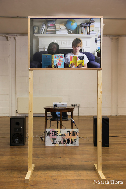 "Kitchen Table Collective exhibition, ""We Are: New Stories on Immigration,"" at Ugly Duck space in London, UK, December 12-13, 2015, featuring works by artists Alexia Villard, Emma Mudgway, Claire Tipy, and Sarah Tilotta - including the performing and visual arts collaboration, ""Where do you think I was born?"""