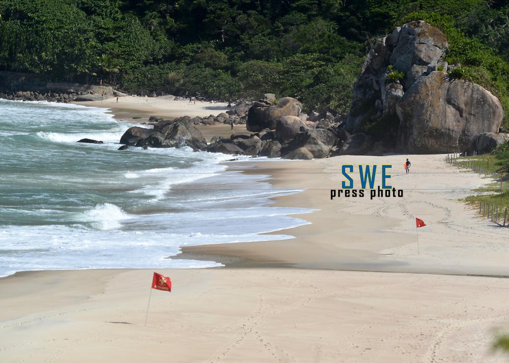 Rio de Janeiro-Brazil09 May 2020, Rio de Janeiro-Brazil May 9, 2020, Prainha main beach for surfing in Rio de Janeiro, closed due to the Coronavirus