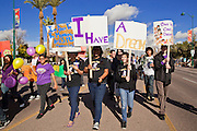 16 JANUARY 2012 - MESA, AZ: Students from Mesa High School march in the parade on Martin Luther King Day in Mesa, AZ, Monday, Jan. 16. Hundreds of people participated in the parade which marched through downtown Mesa.   PHOTO BY JACK KURTZ