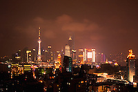 Pudong viewed at night in Shanghai China