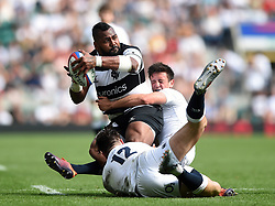 Taqele Naiyaravoro of the Barbarians is double-tackled by Johnny Williams and Alex Mitchell of the England XV - Mandatory byline: Patrick Khachfe/JMP - 07966 386802 - 02/06/2019 - RUGBY UNION - Twickenham Stadium - London, England - England XV v Barbarians - Quilter Cup International