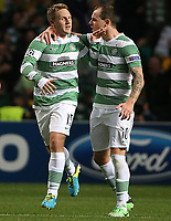 Football - 2013 / 2014 Champions League - Qualifying, Play-Off Round, Second Leg: Celtic vs. Shakhter Karagandy<br /> <br /> Kris Commons of Celtic is congratulated on his goal by Anthony Stokes during the Celtic and Shakhter Karagandy Champions League qualification match at Parkhead Stadium, Glasgow on August 28th August 2013.<br /> <br /> Ian MacNicol/Colorsport