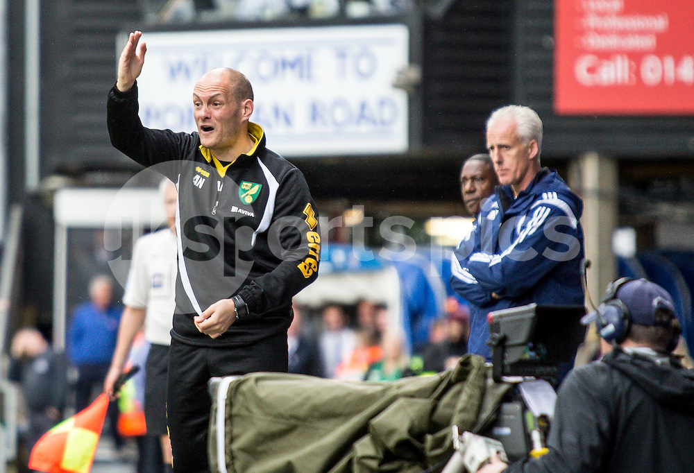 Norwich City Manager Alex Neil during the Sky Bet Championship Play Off 1st Leg match between Ipswich Town and Norwich City at Portman Road, Ipswich, England on 9 May 2015. Photo by Liam McAvoy.