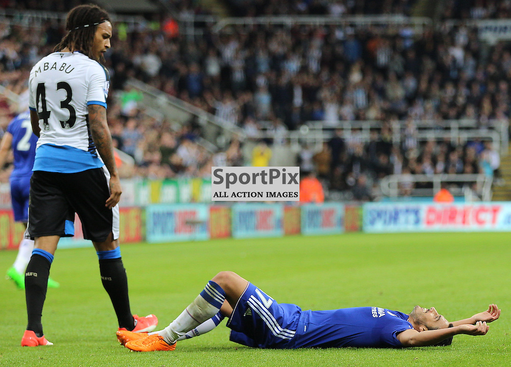 Newcastle United v Chelsea English Premiership 26 September 2015; Kevin Mbabu (Newcastle, 43) looks down at a dejected Pedro (Chelsea, 17) during the Newcastle v Chelsea English Premiership match played at St. James' Park, Newcastle; <br /> <br /> &copy; Chris McCluskie | SportPix.org.uk