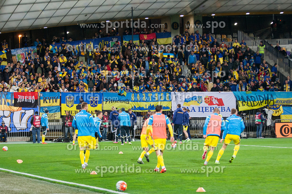 Players and supporters of Ukraine during the UEFA EURO 2016 Play-off for Final Tournament, Second leg between Slovenia and Ukraine, on November 17, 2015 in Stadium Ljudski vrt, Maribor, Slovenia. Photo by Urban Urbanc / Sportida