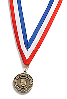 Olympic Bobsled Track medal on white background